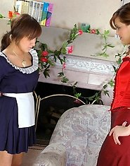 Horny aging lesbo pushing aside her panties for strap-on of her eager maid