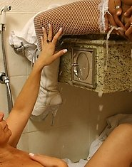 Old lady and young girl enjoy golden shower