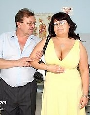 Busty mature woman Daniela gyno pussy and big tits exam