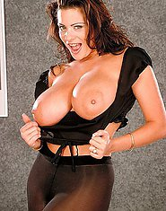 Big jugs Linsey in black stockings