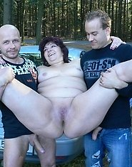 This horny chubby mature slut wants cocks in the woods