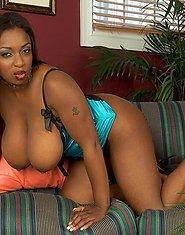 Huge ebony boobs get fondled