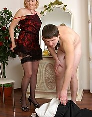 Dolled-up blonde mommy getting a rimjob served to her before anal plowing