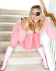Jordan wears a sexy pirate uniform while exposing her pink Anilos pussy on the stairs